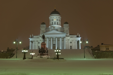Cathedral in the winter night, Helsinki, Finland photo