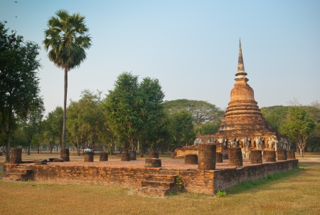 Wat Sorasak - buddhist temple in Sukhothai historical park, Thailand photo