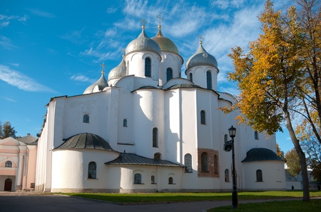 St  Sophia Cathedral at Novgorod Kremlin in sunny autumn day, Russia photo