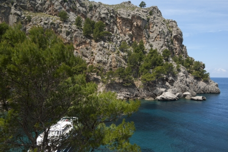 sa: Turquoise Mediterranean sea in Sa Calobra bay, Mallorca, Spain