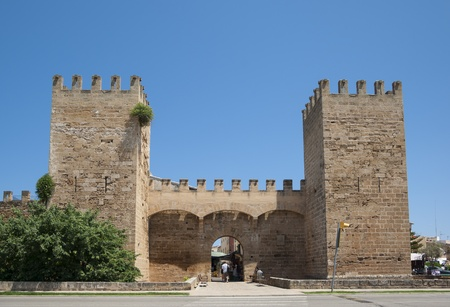 City wall gate in Alcudia, Mallorca, Spain