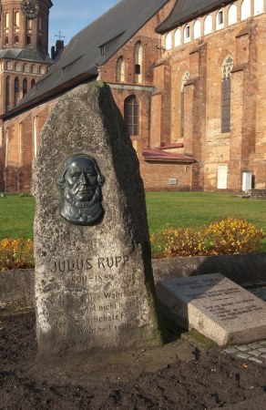 immanuel: Monument to Julius Rupp near cathedral of Immanuel Kant in Kaliningrad. Russia