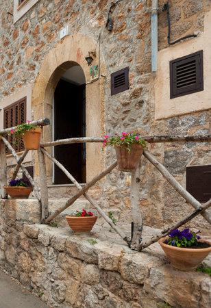 Street of mountain village Valldemossa, Mallorca, Spain
