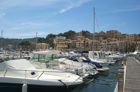 Port de Soller - town on the coast of Mediterranean sea, Mallorca, Spain