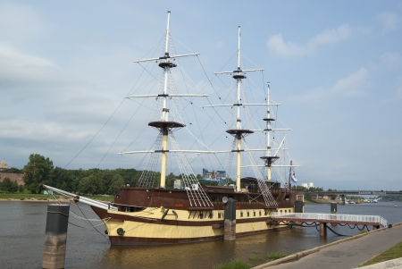volkhov: Ancient frigate on Volkhov, Novgorod the Great, Russia