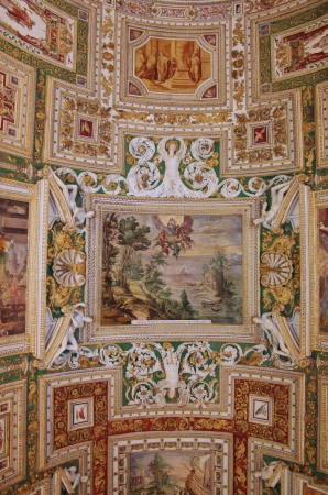frescoed: VATICAN - SEPTEMBER 28: Vatican museum on September 28, 2011 in Rome Italy. Beautiful frescoed ceiling of the Map Room in the Sistine Chapel in Vatican Editorial