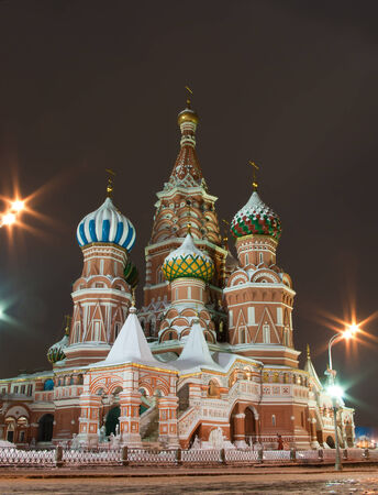 minin: Saint Basils Cathedral in the winter night, Moscow, Russia Stock Photo
