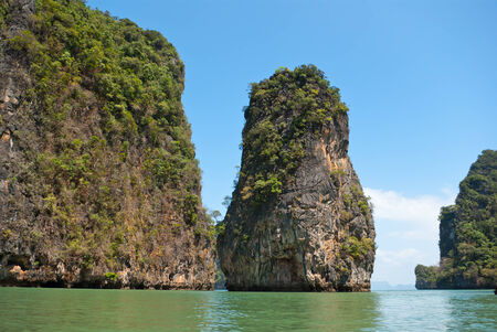 Limestone islands in Andaman sea near Phuket, Thailand photo