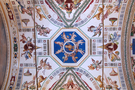 frescoed: VATICAN - SEPTEMBER 28: Vatican museum on September 28, 2011 in Rome Italy. Beautiful frescoed ceiling of one of the galleries in Vatican museums
