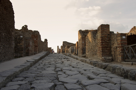 Pompeii at sunset - the ruined Roman city, Italy photo