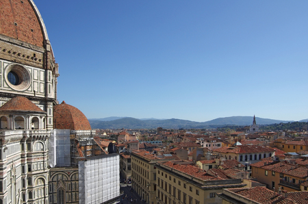 Top view on the Duomo and the historical center of Florence, Italy. photo