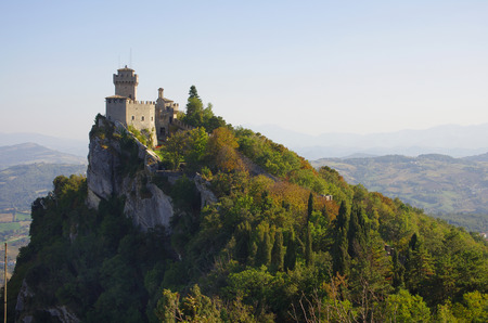 san marino: View on the castle on the cliff, San Marino Editorial
