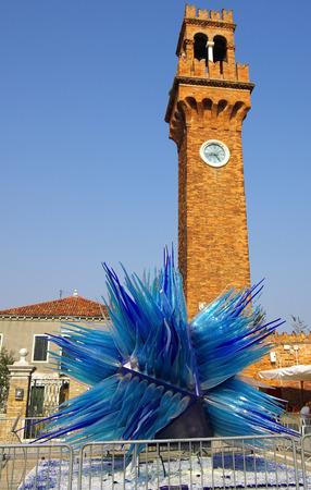 murano: Giant blue murano glass sculpture on Murano, Venice, Italy Stock Photo
