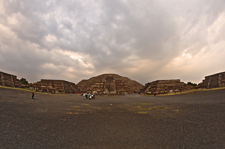 Fish-eye view on Teotihuacan Pyramids near Mexico City at sunset photo