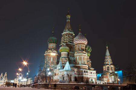 intercession: Intercession Cathedral in the winter night, Moscow, Russia