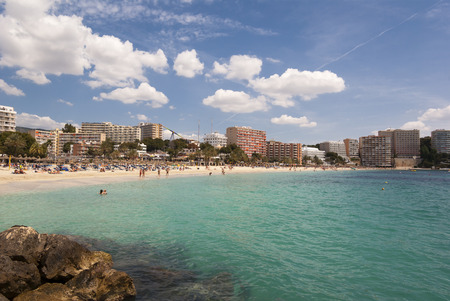 The beach of Mediterranean sea, Mallorca, Spain Imagens - 27915137