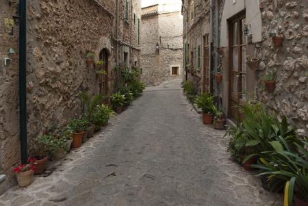Street of mountain village Valldemossa, Mallorca, Spain photo