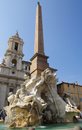 The fountain of four rivers designed by Bernini, Piazza Navona, Rome photo