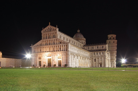 Leaning tower and Duomo in the night, Pisa, Italy photo