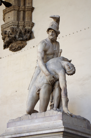 Ancient sculpture Menelaus supporting the body of Patroclus, in the Loggia dei Lanzi, in Florence, Italy.