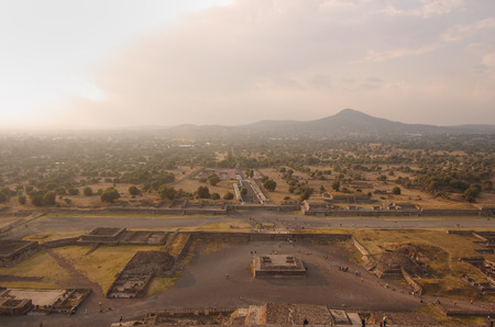 Teotihuacan Pyramids near Mexico City at sunset photo