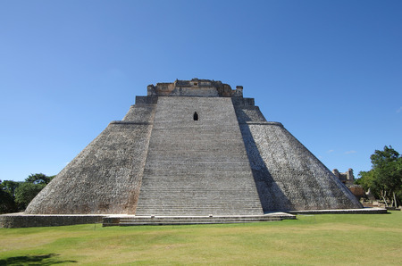 The Pyramid of the Magician (El Adivino) is the central structure in the Maya ruin complex of Uxmal photo