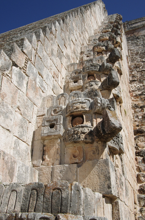 Decorative detail of Pyramid of the Magician (El Adivino) in the Maya ruin complex of Uxmal, Mexico photo