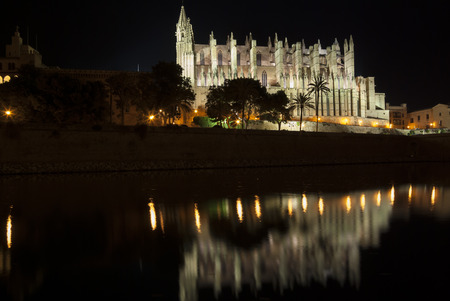Cathedral La Seu in the night, Palma de Mallorca, Spain photo