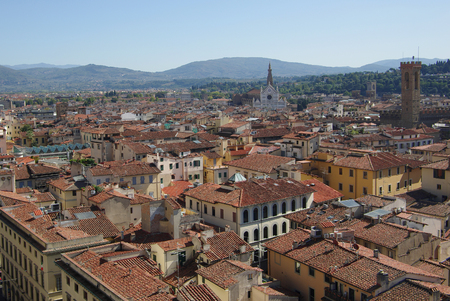 Top view from Campanile Giotto on the historical center of Florence, Italy. photo