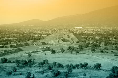 Teotihuacan Pyramid near Mexico City at sunset photo
