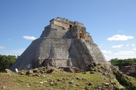 The Pyramid of the Magician (El Adivino) is the central structure in the Maya ruin complex of Uxmal, Mexico photo