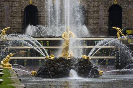 Samson fountain of the Grand Cascade near Peterhof Palace, Saint-Petersburg, Russia photo