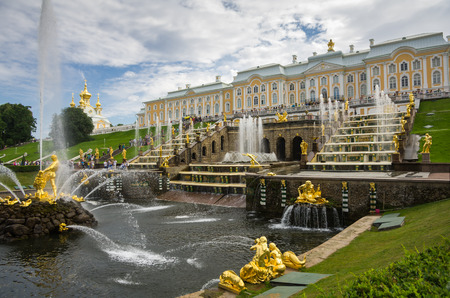 PETERHOF- JULY 07: Samson fountain of the Grand Cascade on July 07, 2013, Saint-Petersburg, Russia. The park ensemble of Peterhof belongs to the world heritage of UNESCO