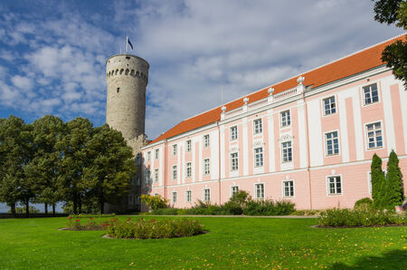 Herman Tower and Parliament building in center of Tallinn, Estonia