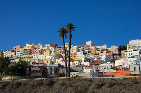 uptown: Colorful residential houses in old uptown of Las Palmas de Gran Canaria, the capital city of Canary Islands, Spain Stock Photo