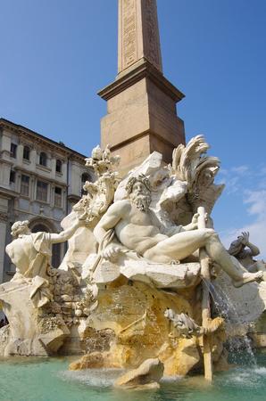 bernini: The fountain of four rivers designed by Bernini, Piazza Navona, Rome Stock Photo
