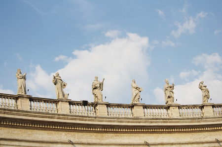 pio: Statues of Vatican Berninis colonnade in Rome, Italy