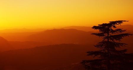 talian: Top view on suburbs of San Marino at sunset