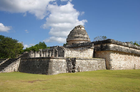 archeological: The Observatory (El Caracol) inside the maya archeological site of Chichen Itza, Mexico