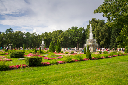 petrodvorets: PETERHOF- JULY 07: Fountains in park of Petrodvorets on July 07, 2013, Saint-Petersburg, Russia. The park ensemble of Peterhof belongs to the world heritage of UNESCO