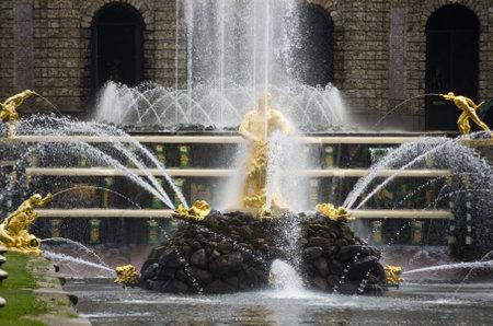 Samson fountain of the Grand Cascade near Peterhof Palace, Saint-Petersburg, Russia