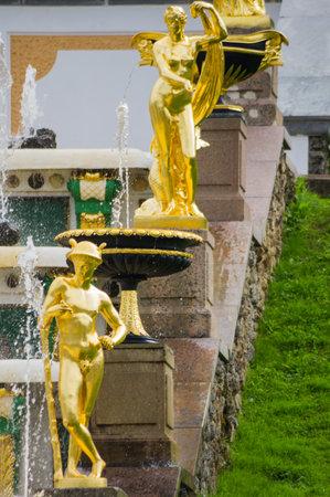 peterhof: Fountains of the Grand Cascade in Peterhof, Saint-Petersburg, Russia Editorial