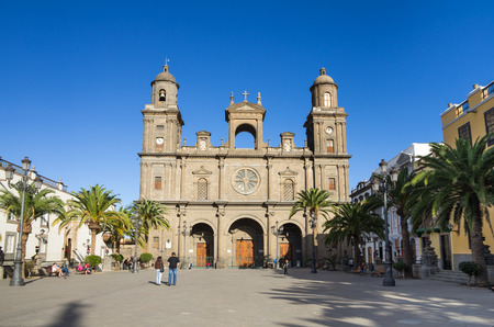LAS PALMAS, GRAN CANARIA, CANARY ISLANDS - JANUARY 03, 2014: The Cathedral of Saint Ana situated in the old district Vegueta in Las Palmas de Gran Canaria, Spain