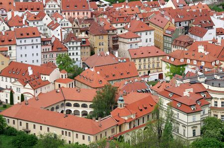 Top view on medieval houses of Prague, Czech Republic