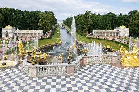 peterhof: Fountain of the Grand Cascade in Peterhof, Saint-Petersburg, Russia Editorial