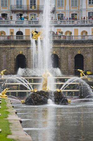 petrodvorets: PETERHOF- JULY 07: Fountains in park of Petrodvorets on July 07, 2013, Saint-Petersburg, Russia. The park ensemble of Peterhof belongs to the world heritage of UNESCO