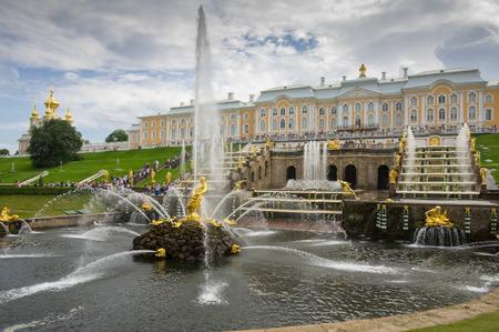 peterhof: PETERHOF- JULY 07: Samson fountain and Grand Cascade on July 07, 2013, Saint-Petersburg, Russia. The park ensemble of Peterhof belongs to the world heritage of UNESCO