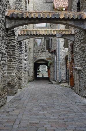 tallin: Beautiful medieval buildings of Old Town, TALLINN, ESTONIA Stock Photo