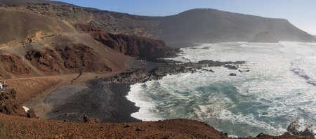 golfo: Lagoon El Golfo on Lanzarote, Canary islands, Spain Stock Photo