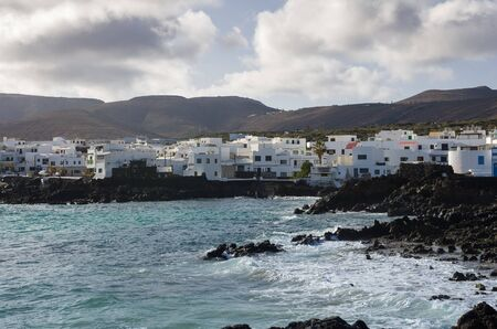 mujeres: White houses of village Punta Mujeres on the island of Lanzarote, Canary Islands, Spain